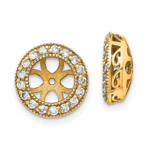 Lex & Lu 14k Yellow Gold AA Diamond Earring Jacket LAL15228-Lex & Lu