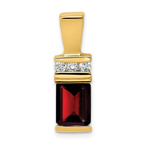 Lex & Lu 14k Yellow Gold 8x6mm Emerald Cut Garnet AA Diamond slide - Lex & Lu
