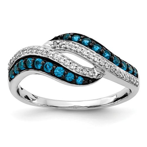 Lex & Lu 14k White Gold Blue and White Diamond Swirl Ring Size 7-Lex & Lu
