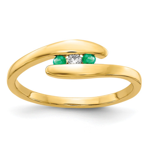 Lex & Lu 14k Yellow Gold Emerald and Diamond Ring Size 7-Lex & Lu