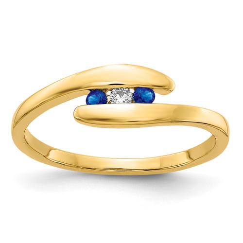 Lex & Lu 14k Yellow Gold Sapphire and Diamond Ring Size 7-Lex & Lu