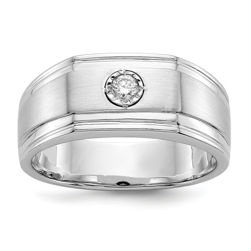 Lex & Lu 14k White Gold Diamond Men's Ring LAL14177 Size 10-Lex & Lu