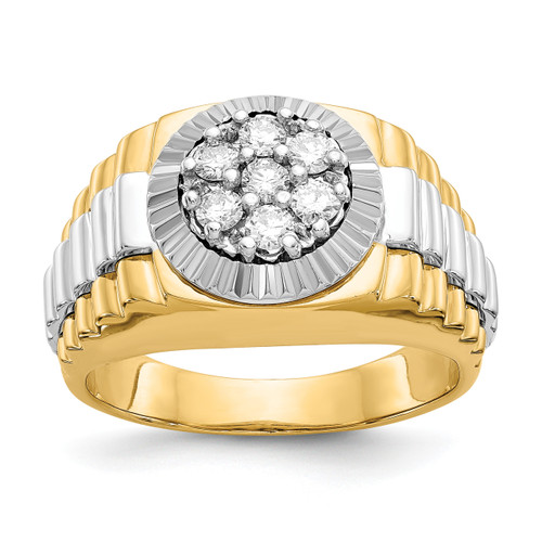 Lex & Lu 14k Two Tone Gold AA Diamond Men's Ring LAL14245 Size 10-Lex & Lu