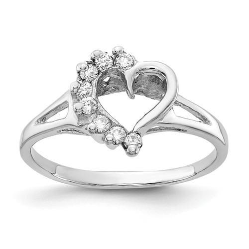 Lex & Lu 14k White Gold Polished AA Diamond Heart Ring LAL15016 Size 6-Lex & Lu
