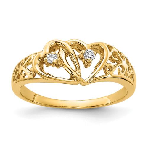 Lex & Lu 14k Yellow Gold AA Diamond Heart Ring LAL15356 Size 6-Lex & Lu