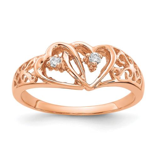 Lex & Lu 14k Rose Gold AA Diamond Heart Ring Size 6-Lex & Lu