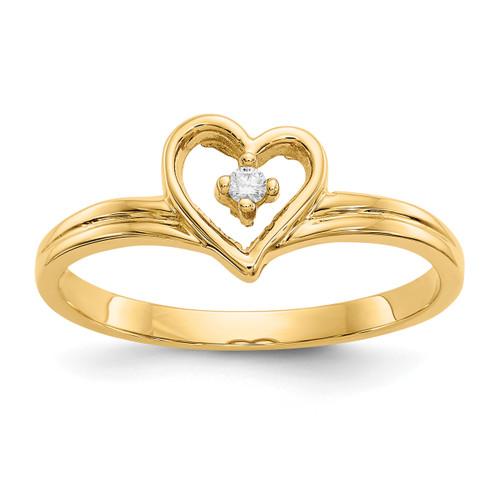 Lex & Lu 14k Yellow Gold Polished AA Diamond Heart Ring LAL15373 Size 6-Lex & Lu