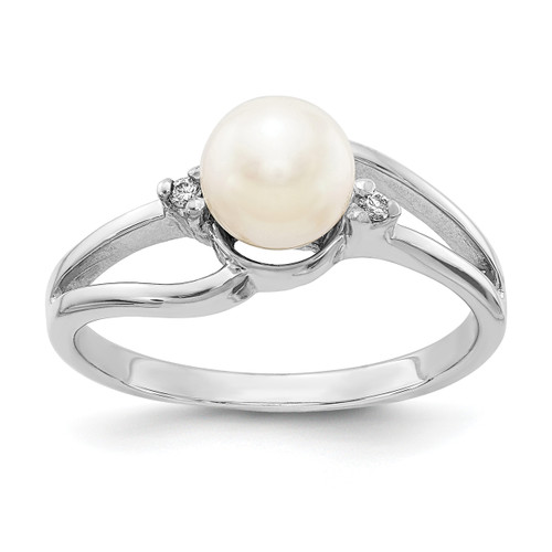 Lex & Lu 14k White Gold 6mm FW Cultured Pearl AA Diamond Ring LAL15397 Size 6-Lex & Lu