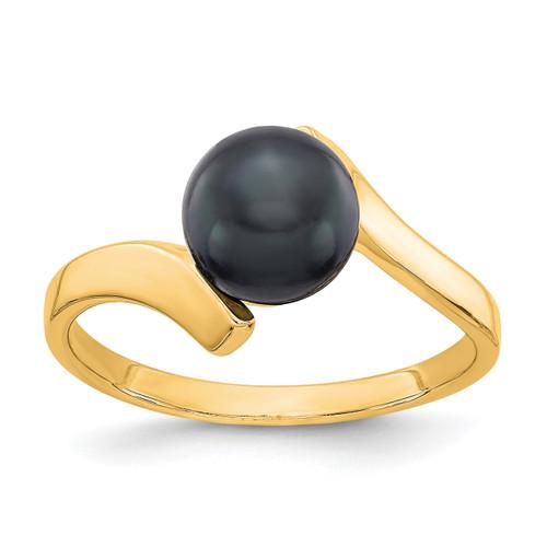 Lex & Lu 14k Yellow Gold Black FW Cultured Pearl Ring LAL15400 Size 6-Lex & Lu