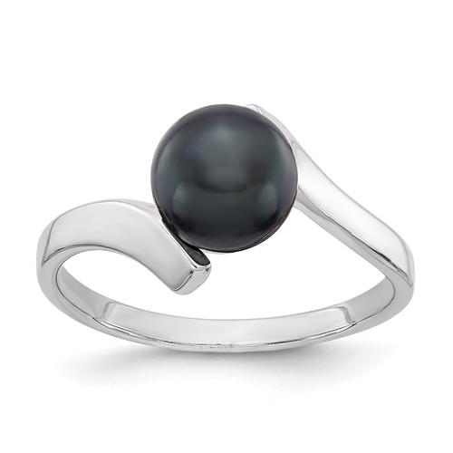 Lex & Lu 14k White Gold 7mm Black FW Cultured Pearl Ring Size 6 - Lex & Lu