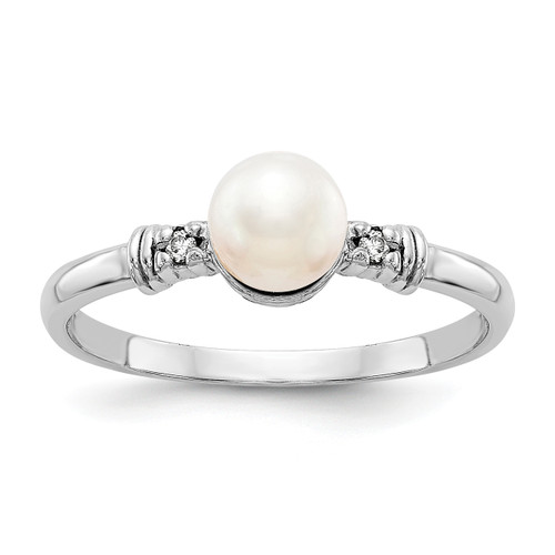 Lex & Lu 14k White Gold 5mm FW Cultured Pearl AA Diamond Ring LAL15403 Size 6-Lex & Lu
