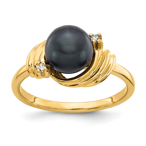 Lex & Lu 14k Yellow Gold Black FW Cultured Pearl & Diamond Ring Size 6-Lex & Lu