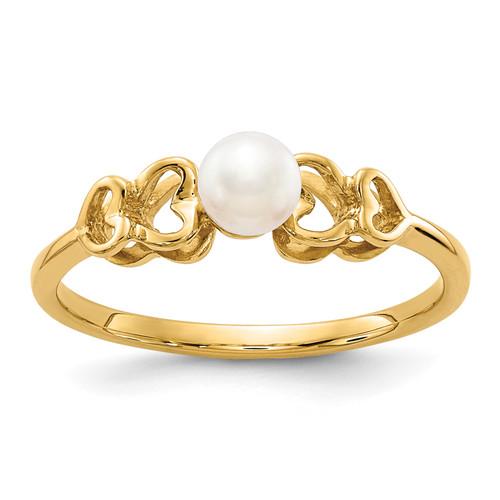 Lex & Lu 14k Yellow Gold 4mm FW Cultured Pearl Ring Size 5.5 - Lex & Lu