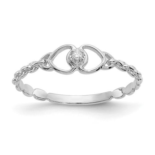 Lex & Lu 14k White Gold AA Diamond Heart Ring LAL15441 Size 6 - Lex & Lu