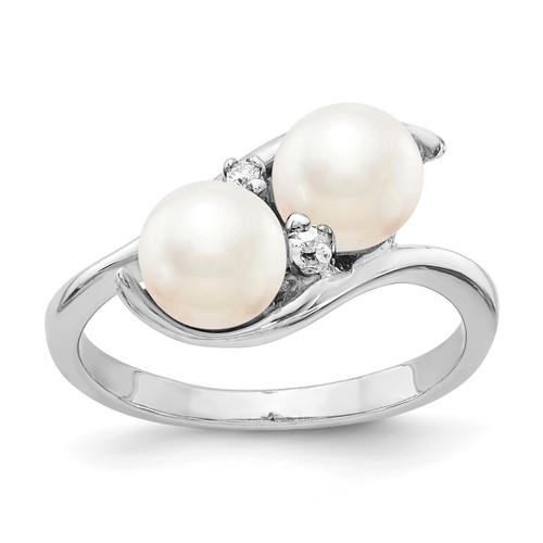 Lex & Lu 14k White Gold 6mm FW Cultured Pearl AA Diamond Ring LAL15458 Size 6-Lex & Lu