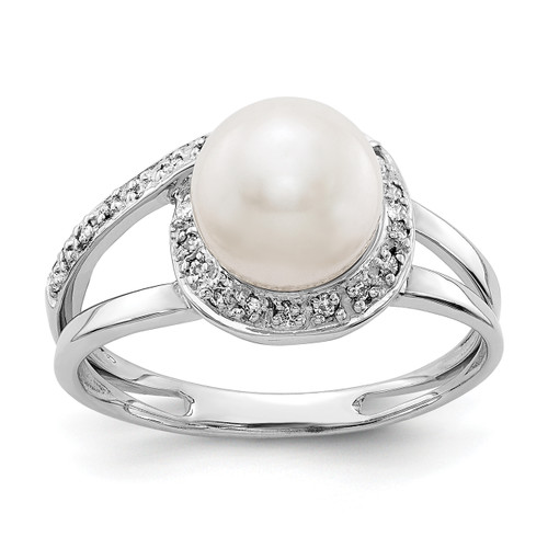 Lex & Lu 14k White Gold 7.5mm FW Cultured Pearl AA Diamond Ring LAL15466 Size 6-Lex & Lu
