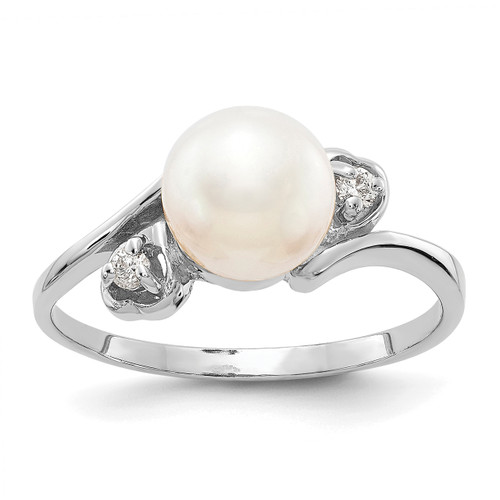 Lex & Lu 14k White Gold 7mm FW Cultured Pearl AA Diamond Ring LAL15475 Size 6-Lex & Lu