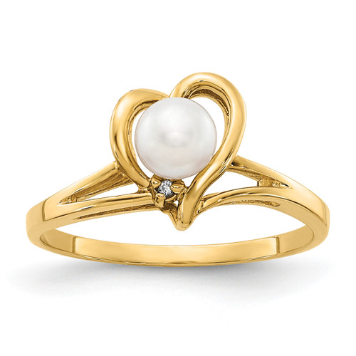 Lex & Lu 14k Yellow Gold 4.5mm FW Cultured Pearl AA Diamond Ring LAL15476 Size 6-Lex & Lu