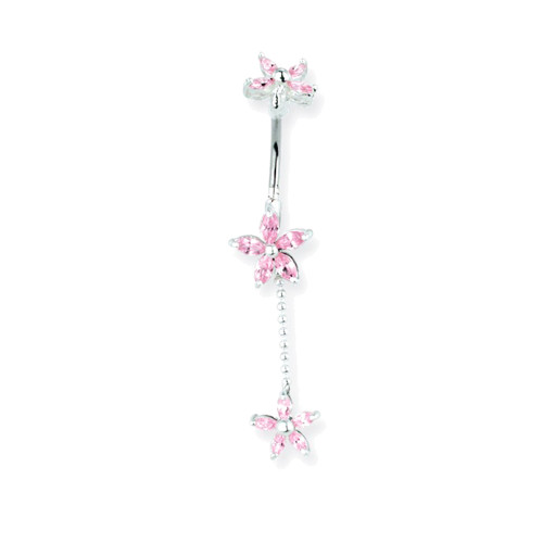 "Lex & Lu Steel Belly Ring 14 Gauge 7/16"" Long w/Matching Pink Gem Flower Charms-Lex & Lu"