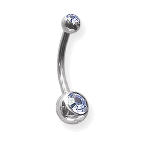 """Lex & Lu Steel Int Thrd Belly Ring 14 Gauge 7/16"""" Long 5x8mm Blue Gem-Lex & Lu"""
