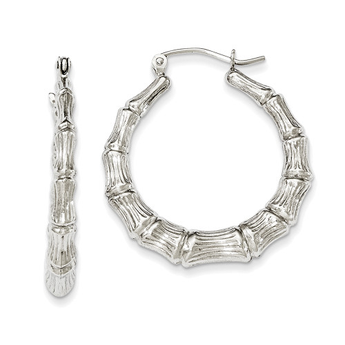 Lex & Lu Sterling Silver w/Rhodium Bamboo Hoop Earrings LAL23333-Lex & Lu