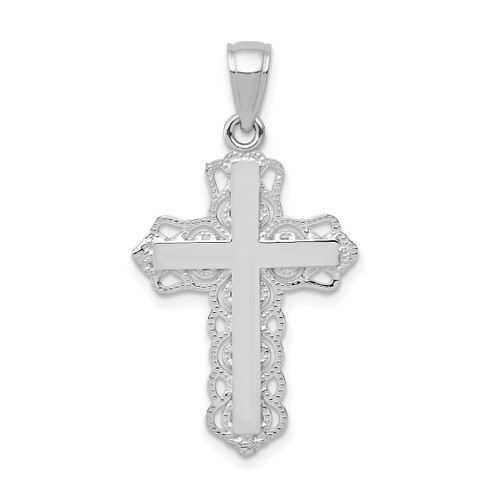 Lex & Lu 10k White Gold Lace Trim Cross Pendant-Lex & Lu