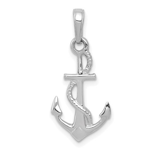 Lex & Lu 10k White Gold Solid Polished 3D Anchor Pendant-Lex & Lu