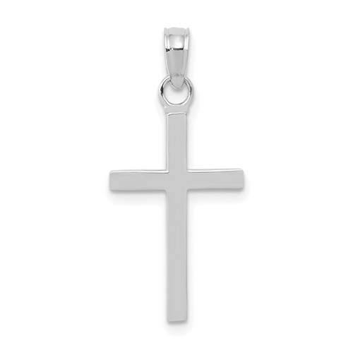Lex & Lu 10k White Gold 3D Cross Pendant-Lex & Lu