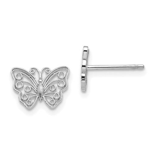 Lex & Lu 10k White Gold Butterfly Post Earrings-Lex & Lu
