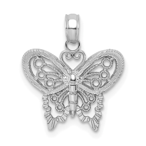 Lex & Lu 10k White Gold Polished Butterfly Charm-Lex & Lu