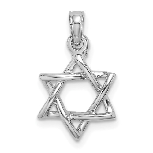 Lex & Lu 10k White Gold 3D Polished Star of David Charm-Lex & Lu
