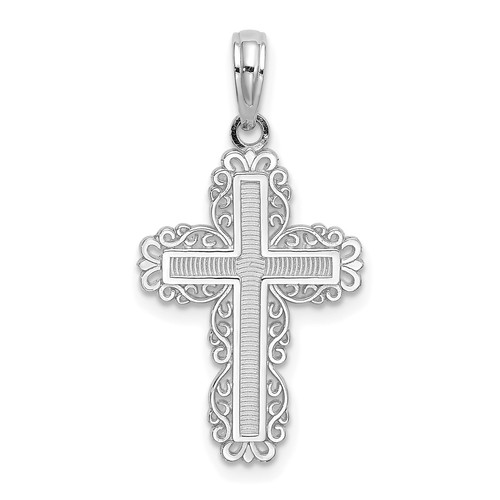 Lex & Lu 10k White Gold Textured w/Lace Trim Cross Charm-Lex & Lu