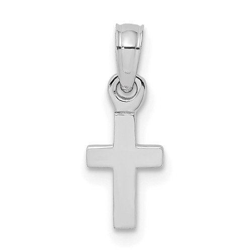 Lex & Lu 10k White Gold Polished Mini Cross Charm-Lex & Lu