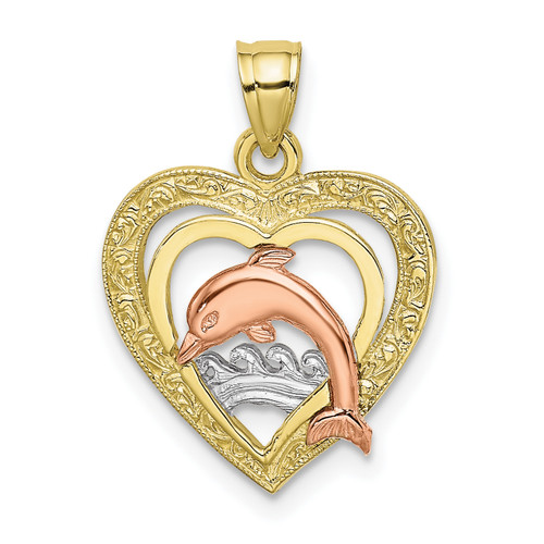 Lex & Lu 10k Tri-color Gold Dolphin In Heart Charm-Lex & Lu