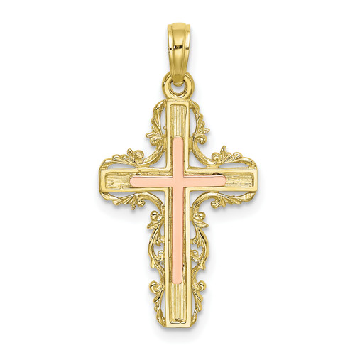 Lex & Lu 10k Two-tone Gold w/Lace Trim Cross Charm-Lex & Lu