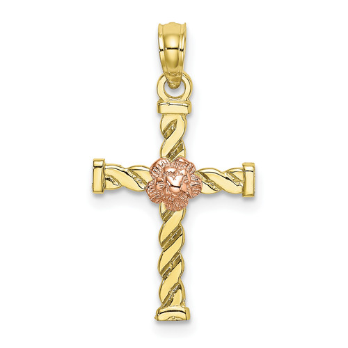 Lex & Lu 10k Two-tone Gold Twisted Cross w/Flower Charm-Lex & Lu