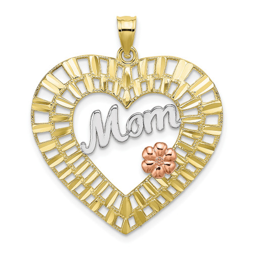Lex & Lu 10k Tri-color Gold D/C Mom Heart Charm-Lex & Lu