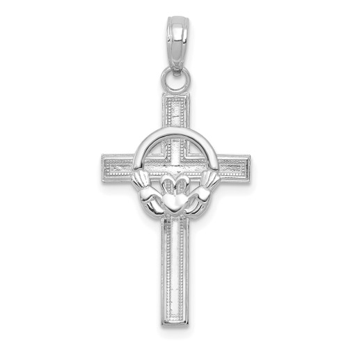 Lex & Lu 10k White Gold Polished Claddagh Cross Pendant-Lex & Lu