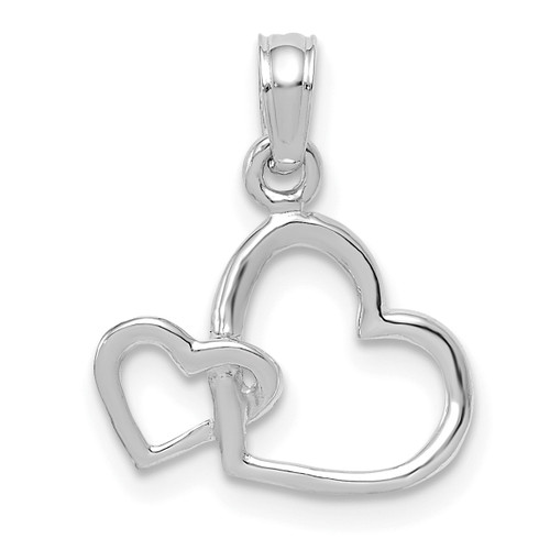 Lex & Lu 10k White Gold Polished Intertwined Double Heart Pendant-Lex & Lu
