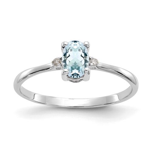 Lex & Lu 10k White Gold Geniune Diamond and Aquamarine Birthstone Ring Size 6 - Lex & Lu