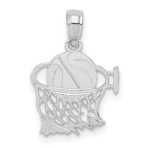 Lex & Lu 14k White Gold Basketball in Net Pendant-Lex & Lu
