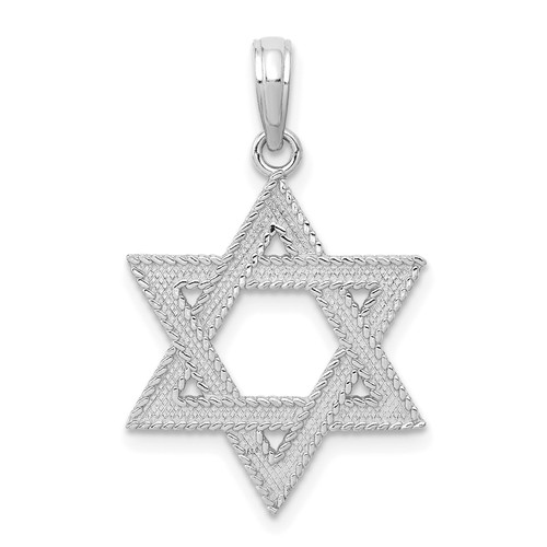 Lex & Lu 14k White Gold Engraved Star of David Charm-Lex & Lu