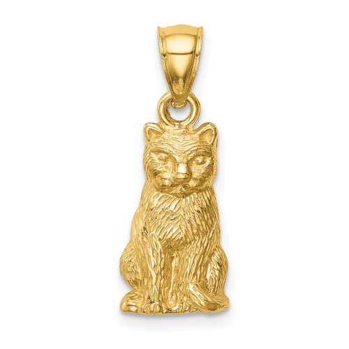 Lex & Lu 14k Yellow Gold Cat Pendant - Lex & Lu