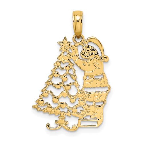 Lex & Lu 14k Yellow Gold Polished Christmas Tree and Santa Charm - Lex & Lu