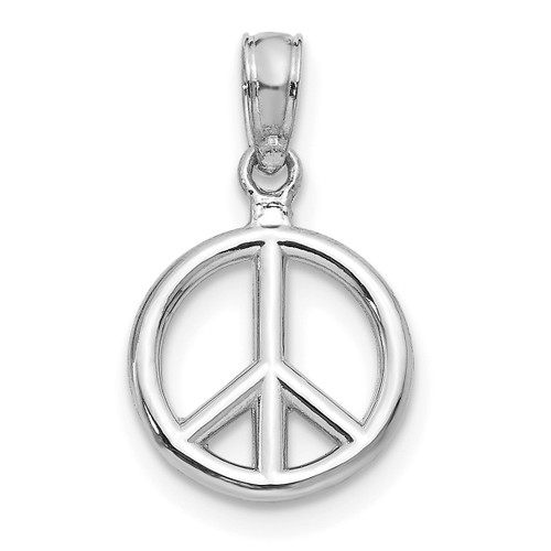 Lex & Lu 14k White Gold Polished Peace Symbol Pendant-Lex & Lu