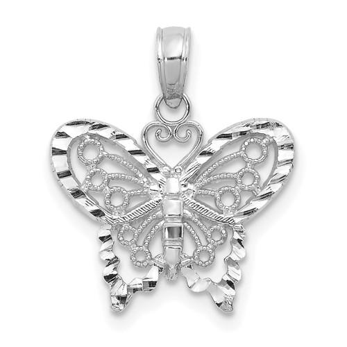 Lex & Lu 14k White Gold D/C Butterfly Pendant-Lex & Lu