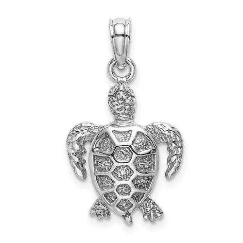 Lex & Lu 14k White Gold 2D Sea Turtle Charm-Lex & Lu
