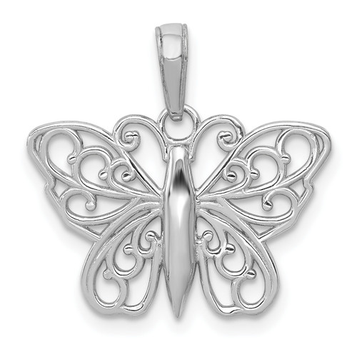 Lex & Lu 14k White Gold Filigree Butterfly Charm-Lex & Lu