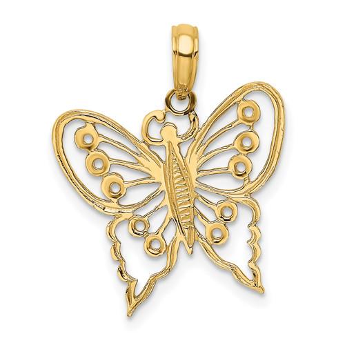 Lex & Lu 14k Yellow Gold Cut-Out Butterfly Charm LALK6556 - Lex & Lu