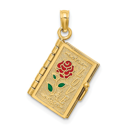 Lex & Lu 14k Yellow Gold Polished Enameled Moveable LOVE Flower Book Pendant - Lex & Lu